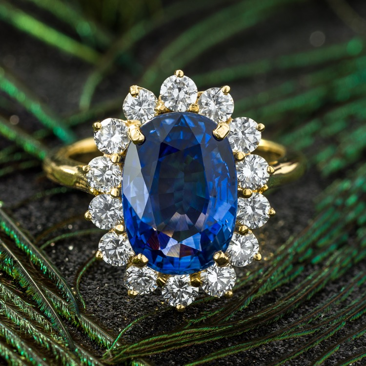 Sapphire and Diamond Ring, 18K Yellow Gold