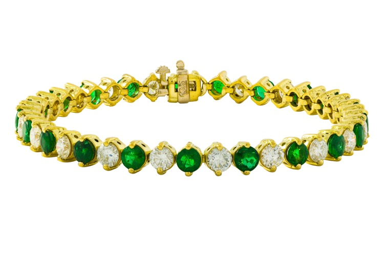 18 Karat Yellow Gold Emerald and Diamond Bracelet