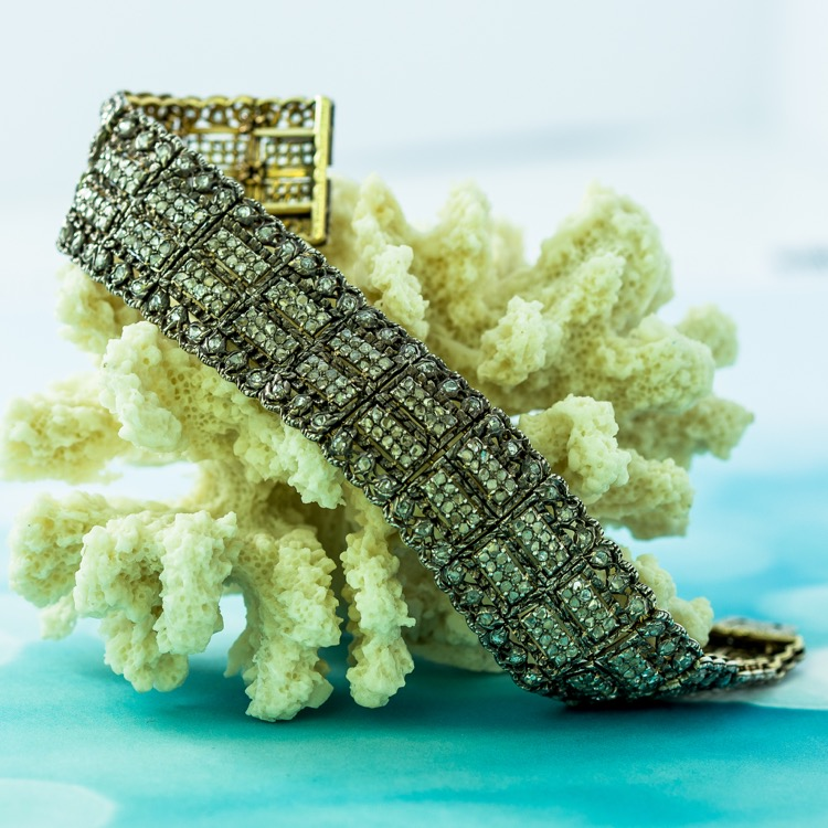 Antique 18 Karat Yellow Gold and Silver Diamond Bracelet by Mario Buccellati