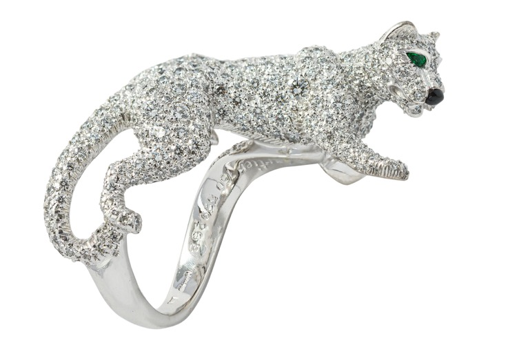 18 Karat White Gold Emerald and Diamond