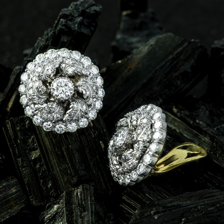 Platinum & 18K White Gold Diamond Earrings by Buccellati - Image #2