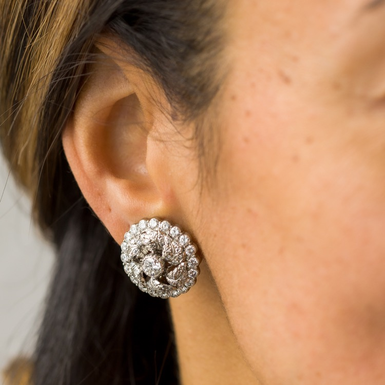 Platinum & 18K White Gold Diamond Earrings by Buccellati - Image #3