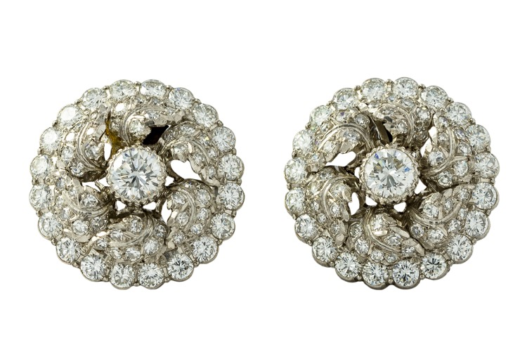 Platinum & 18K White Gold Diamond Earrings by Buccellati - Image #4