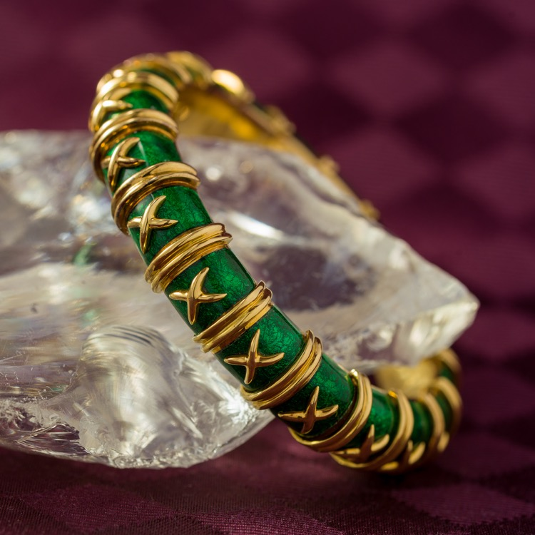18K Yellow Gold Green Enamel Bangle Bracelet by Schlumberger for Tiffany & Co., France