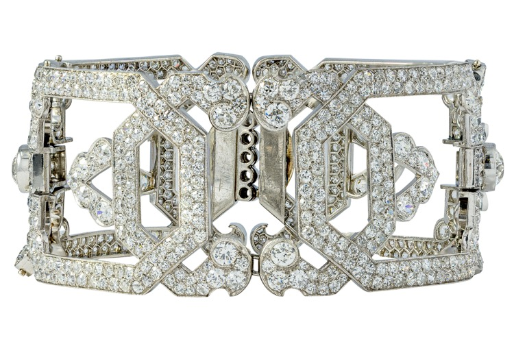 Art Deco Platinum Diamond Bracelet by Köchert, Austrian