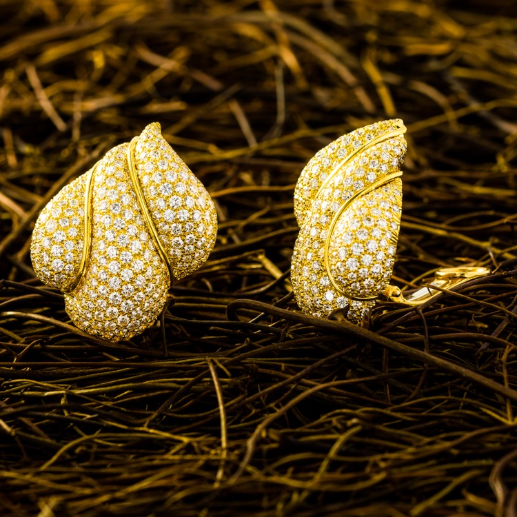 18 Karat Yellow Gold and Diamond Earrings by Henry Dunay