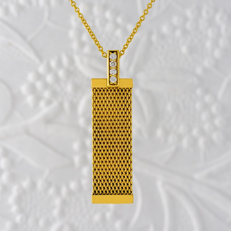 18 Karat Yellow Gold and Diamond Pendant Necklace by Tiffany & Co.