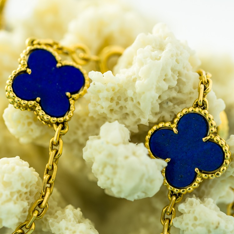 18 Karat Yellow Gold Lapis Alhambra Necklace by Van Cleef & Arpels