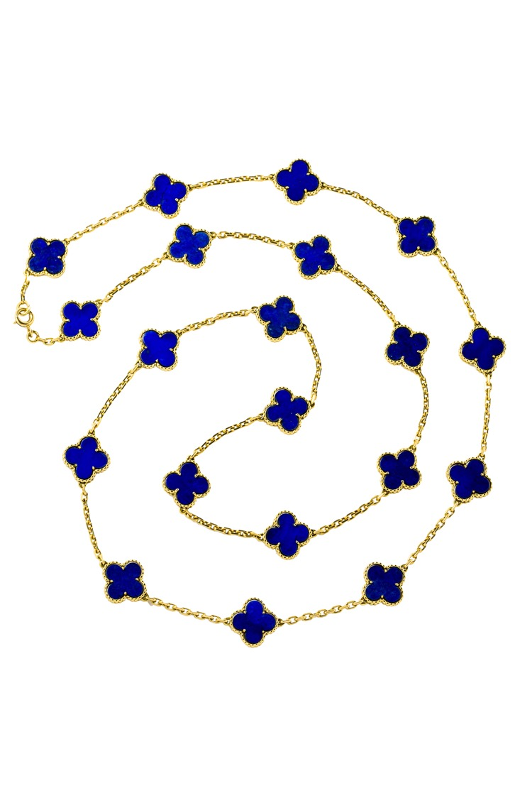 18 Karat Yellow Gold Lapis Alhambra Necklace by Van Cleef & Arpels, France, c. 1990