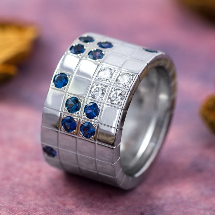 18 Karat White Gold, Sapphire and Diamond Lanieres Ring by Cartier