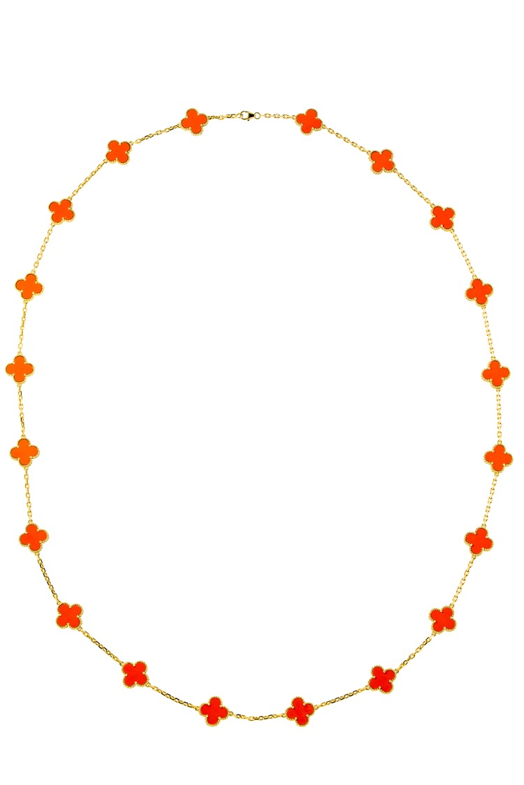 18 Karat Yellow Gold Coral Vintage Alhambra Necklace
