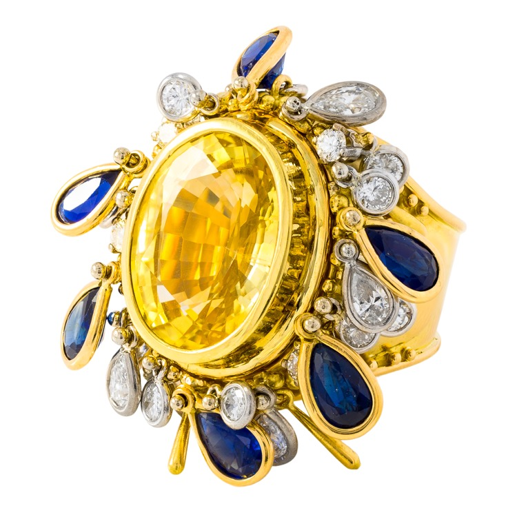 18 Karat Gold Yellow Sapphire (No Heat), Blue Sapphire, and Diamond Convertible Ring by Charles de Temple - Image #5