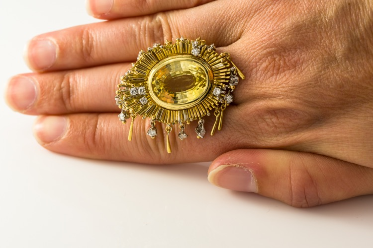 18 Karat Gold Yellow Sapphire (No Heat), Blue Sapphire, and Diamond Convertible Ring by Charles de Temple - Image #6