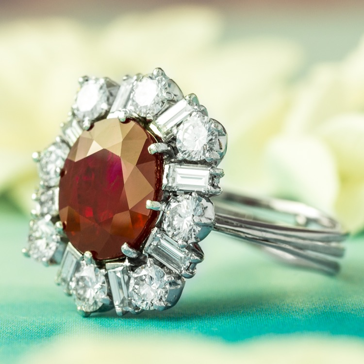 Platinum Burma Ruby Diamond Ring