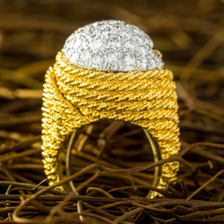 "An 18 Karat Yellow Gold, Platinum and Diamond ""Bombé\"" Ring by David Webb"