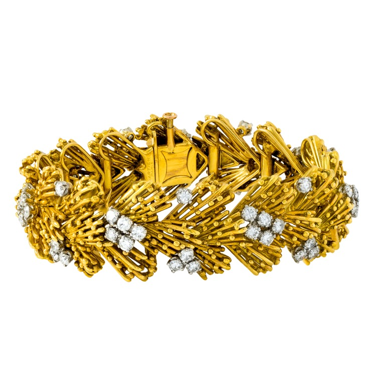 18 Karat Yellow Gold, Platinum and Diamond Bracelet by Cartier, France, c 1950