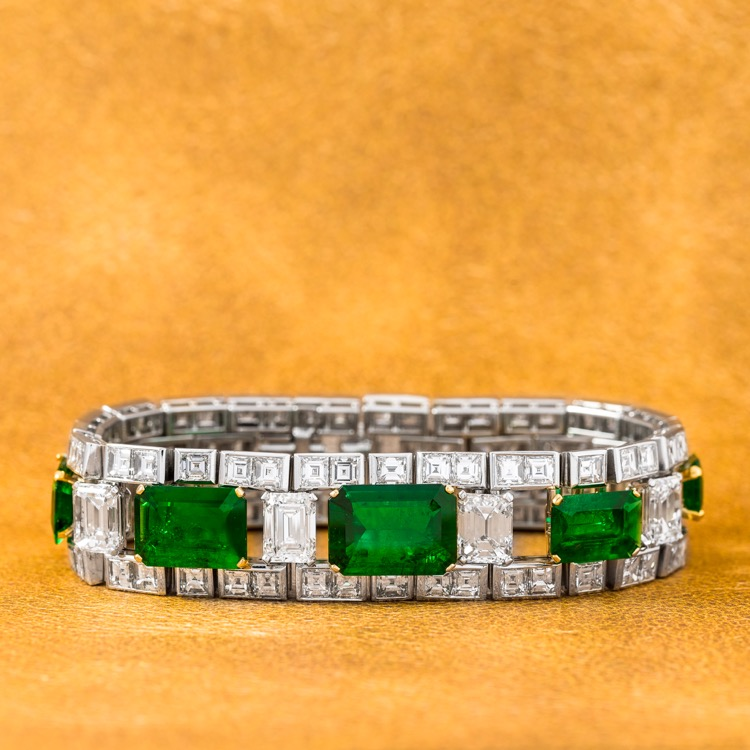 Art Deco Platinum, Emerald and Diamond Bracelet
