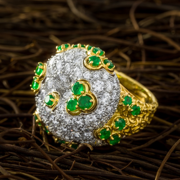 18K Yellow Gold and Platinum Emerald Diamond Ring by André Vassort, French