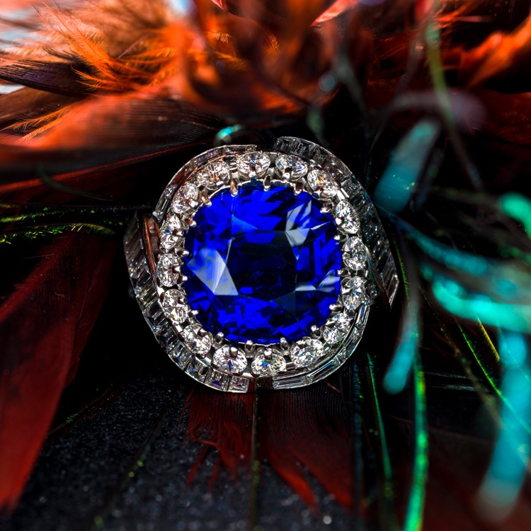 Platinum No Heat Burma Sapphire and Diamond Ring