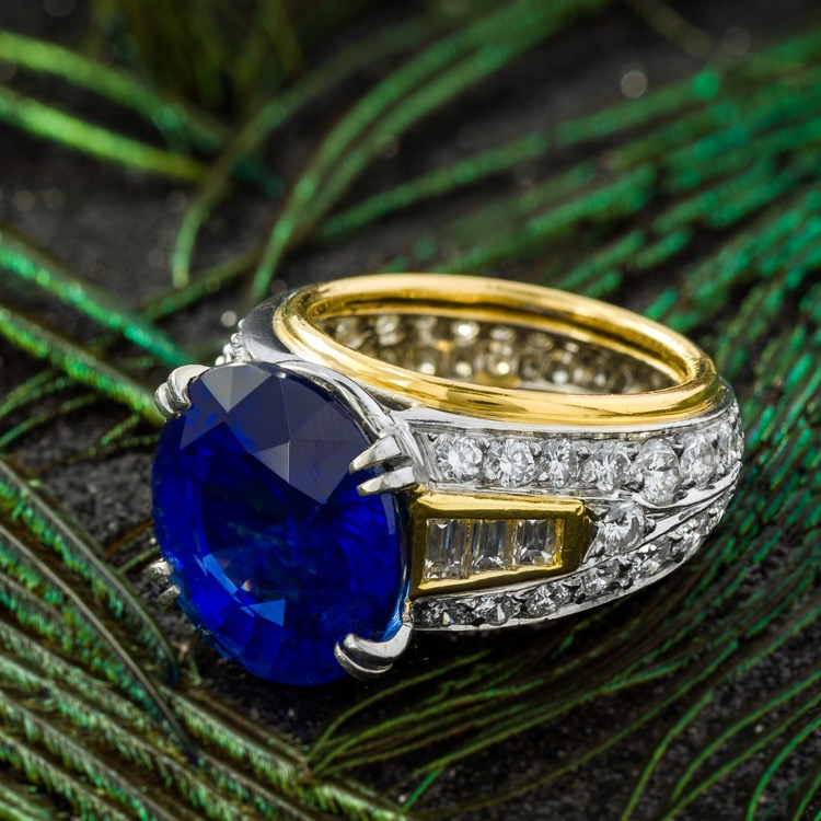 18 Karat Yellow and Platinum Sapphire Diamond Ring by Boris LeBeau, No Heat - Image #1