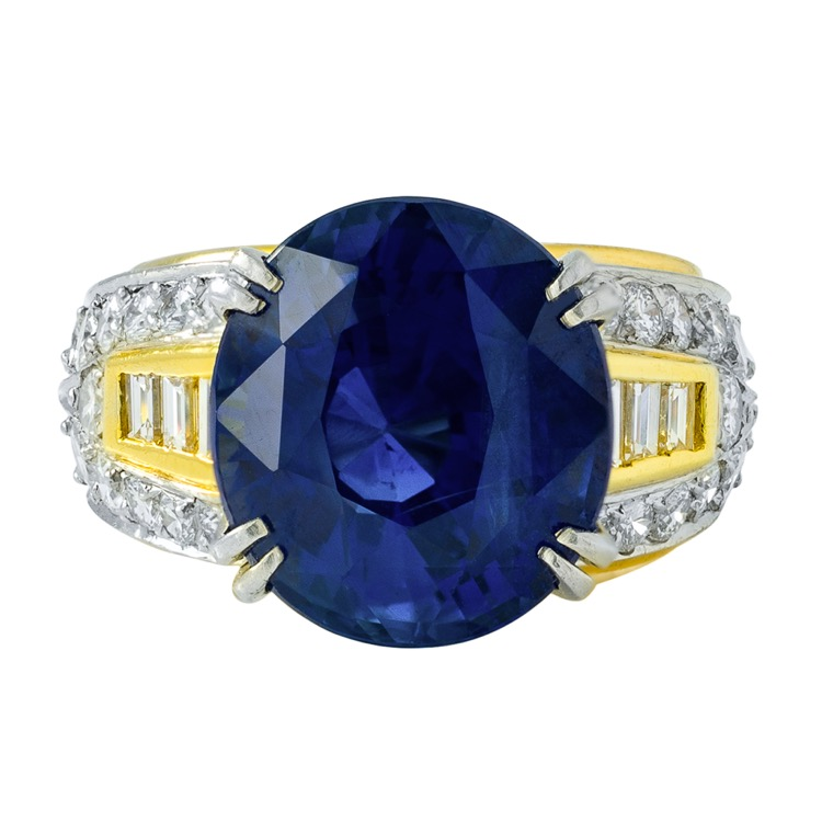 18 Karat Yellow and Platinum Sapphire Diamond Ring by Boris LeBeau, No Heat - Image #4