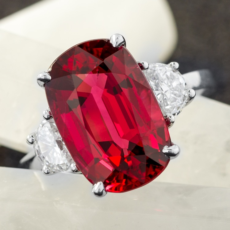 Platinum No Heat Burma Red Spinel and Diamond Ring