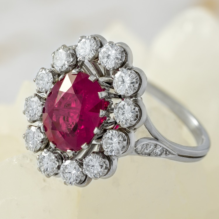 Platinum Burma Ruby Diamond Ring, France