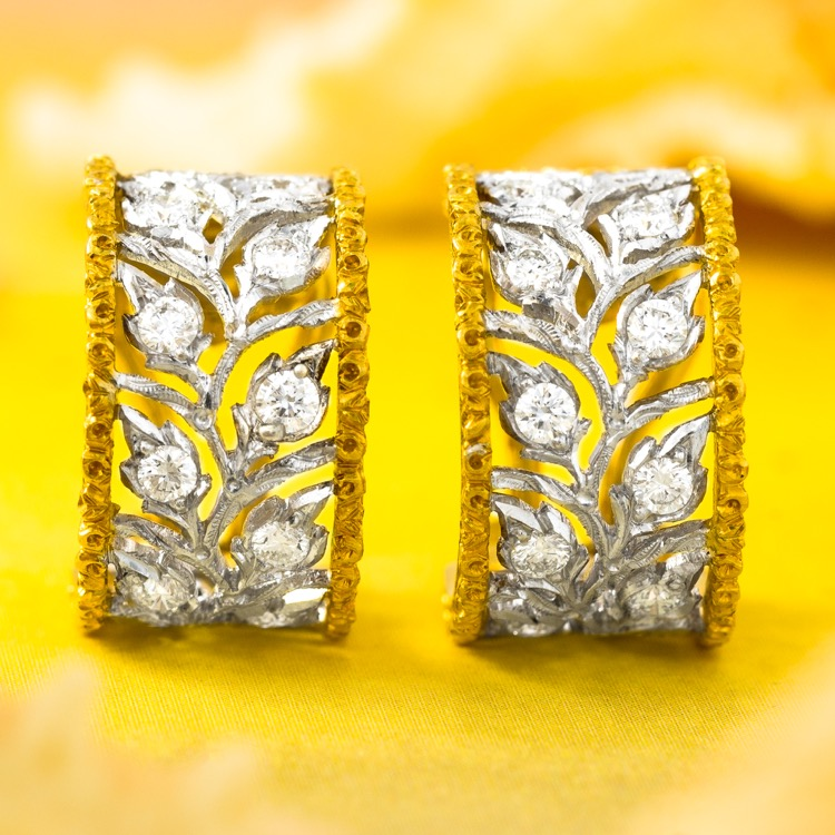 "18 Karat Bicolor Gold and Diamond ""Scacchi"" Earrings by Buccellati"