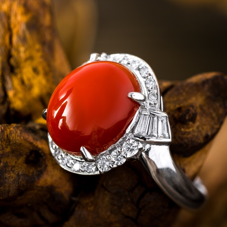 Platinum, Red Coral and Diamond Ring