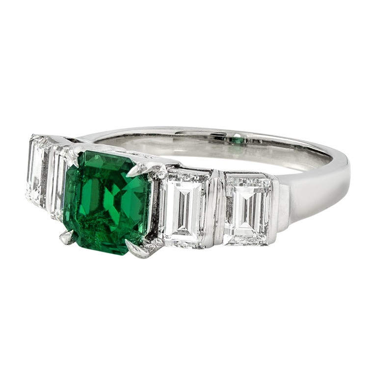 Platinum, Emerald and Diamond Ring