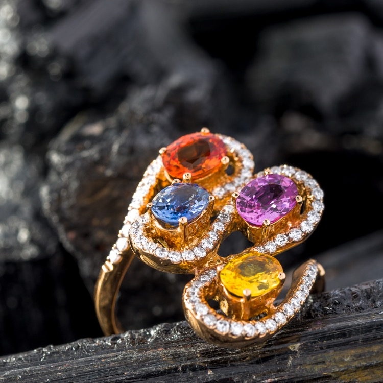 18 Karat Rose Gold, Multi Colored Sapphire and Diamond Ring