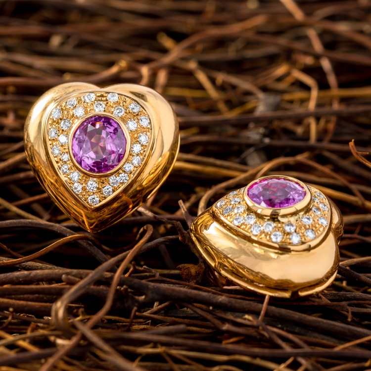 18 Karat Yellow Gold Pink Sapphire and Diamond Earrings