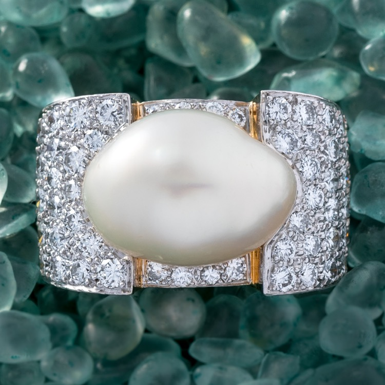 David Webb Baroque Pearl and Diamond Ring