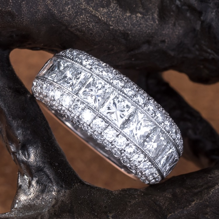 Platinum Diamond Band Ring, Jewels by Star