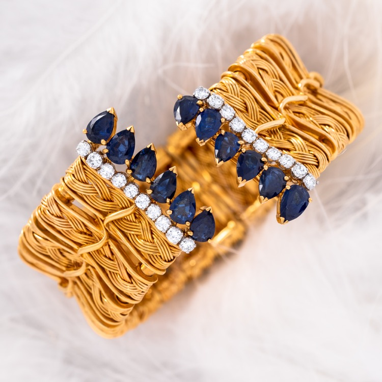 18 Karat Yellow Gold Sapphire and Diamond Cuff Bracelet