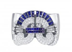 Art Deco platinum, sapphire and diamond bangle bracelet
