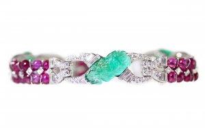 Art Deco Platinum, Carved Emerald, Ruby and Diamond Bracelet