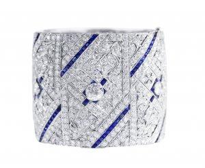 Art Deco platinum, diamond and sapphire bangle bracelet