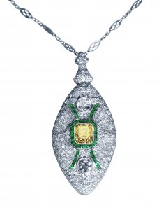 Art Deco Platinum, Diamond and Emerald Pendant Necklace/Brooch - Convertible