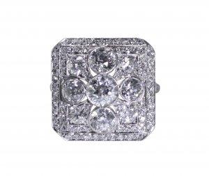 Art Deco platinum and diamond ring by Ellis Bros.