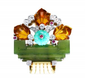 Art Deco Platinum and 18 Karat Gold, Diamond, Ruby, Colored Stone and Enamel Brooch by Cartier