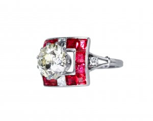 Art Deco platinum, spinel and diamond ring