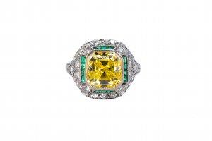 Art Deco Platinum Colored Diamond and Emerald Ring