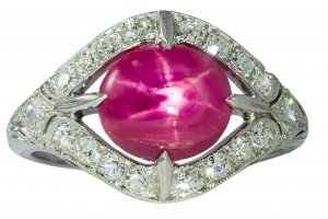 Art Deco Platinum Star Ruby and Diamond Ring
