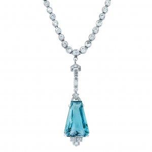 Art Deco Platinum Aquamarine and Diamond Pendant