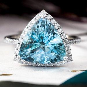 Estate Jewelry Aquamarine Diamond Ring 14 Karat White Gold 06001b