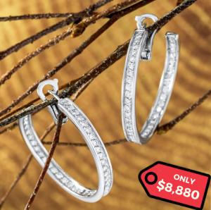 Cartier White Gold Diamond Hoop Earrings