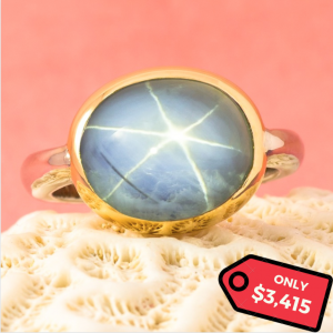 15 Carat Natural Star Sapphire White and Yellow Gold Ring